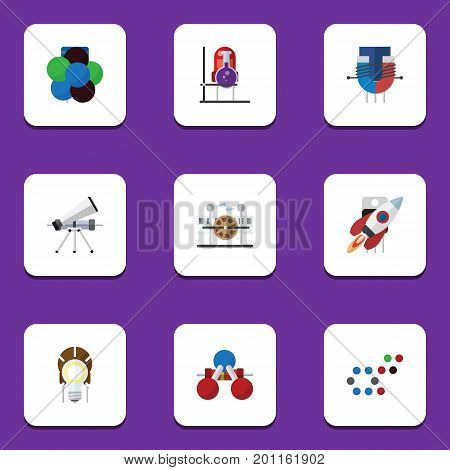 Flat Icon Study Set Of Nuclear, Proton, Flask And Other Vector Objects