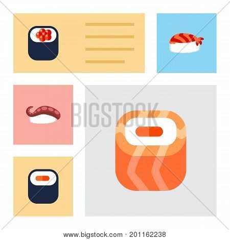 Flat Icon Maki Set Of Oriental, Eating, Sashimi And Other Vector Objects