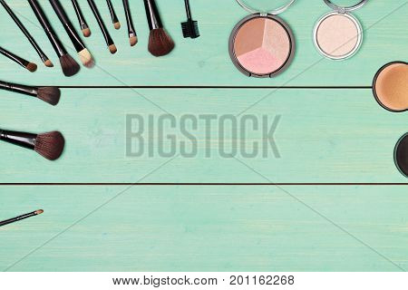 Cosmetics. Post blog social media. View from above with copy space. Banner template layout mockup top view on workplace. Mockup beauty fashion template. For make-up courses, stylists