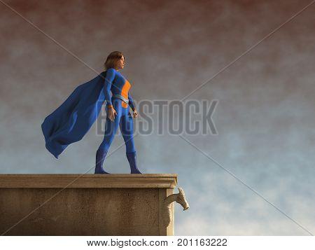 3D Illustration of a super heroine with cloak