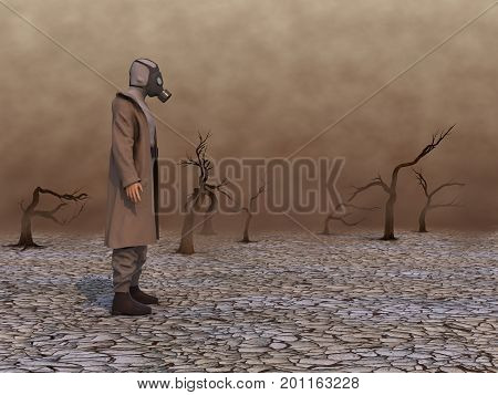 3d ilustration of a man with gas mask in a wasteland