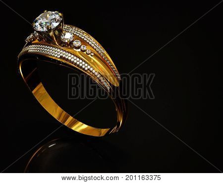 Gold ring with diamond gem jewelry. Luxury jewellery bijouterie with crystal gemstone for people in love. Frontal view and reflection on black background. 3D rendering Close-up of sparkling stones.