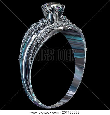 Silver ring for engagement with gem. Top view of diamond facetes luxury jewellery bijouterie from white gold or platinum with gemstone. 3D rendering on dark background. Ancient tiara.