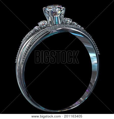 Silver band for engagement with gem. Top view of diamond facetes luxury jewellery bijouterie ring from white gold or platinum with gemstone. 3D rendering on black background. Advertising jewelry store