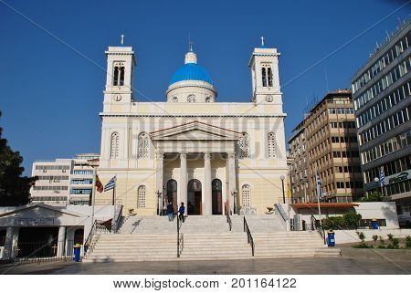ATHENS, GREECE - APRIL 27, 2017: The church of Agios Nikolaos at Piraeus port. The blue domed church was completed in 1902.