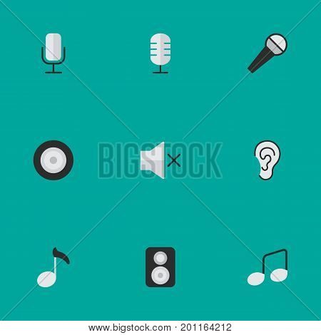 Elements Loudspeaker, Microphone, Listen And Other Synonyms Mic, Sign And Speaker.  Vector Illustration Set Of Simple Melody Icons.