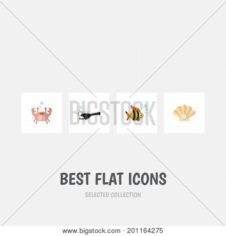 Flat Icon Sea Set Of Conch, Fish, Cancer And Other Vector Objects