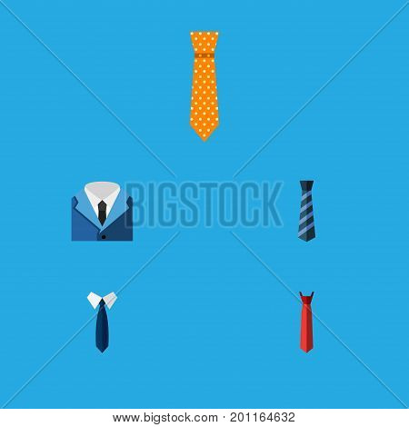 Flat Icon Necktie Set Of Necktie, Style, Clothing And Other Vector Objects