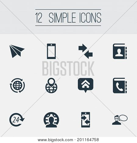 Elements Global Trade, Cellular Appliance, International Job And Other Synonyms Location, International And Book.  Vector Illustration Set Of Simple Communication Icons.