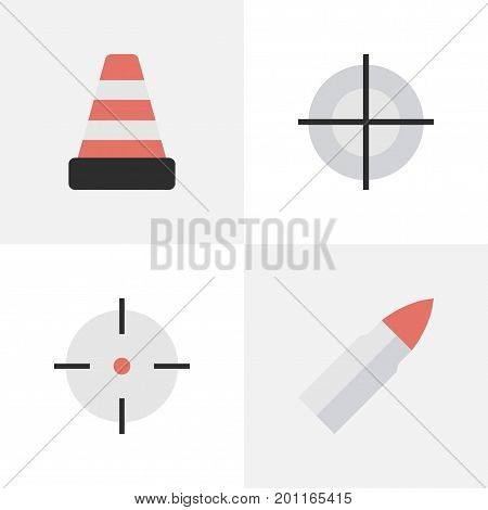 Elements Isolated, Sniper, Shot And Other Synonyms Sniper, Gun And Cone.  Vector Illustration Set Of Simple Offense Icons.