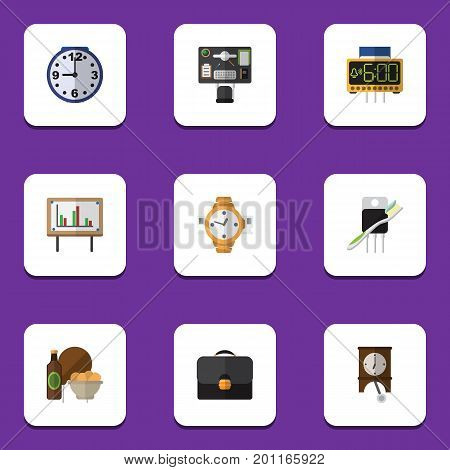 Flat Icon Lifestyle Set Of Clock, Bureau, Watch And Other Vector Objects