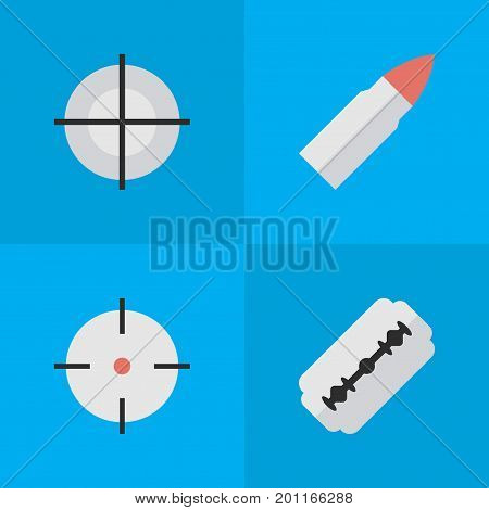 Elements Sniper, Blade, Shot And Other Synonyms Sniper, Bullet And Goal.  Vector Illustration Set Of Simple Crime Icons.