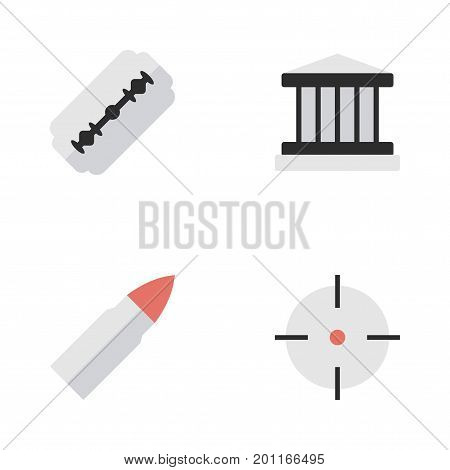 Elements Shot, Blade, Target And Other Synonyms Gun, Target And Razor.  Vector Illustration Set Of Simple Crime Icons.
