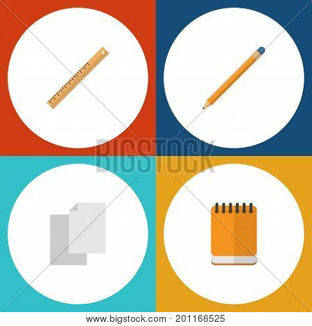 Flat Icon Equipment Set Of Drawing Tool, Notepaper, Sheets And Other Vector Objects