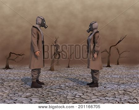 3d illustration of a woman and a man with gas masks