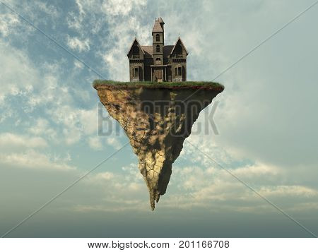 3D illustration of an old house on a piece of land in the sky
