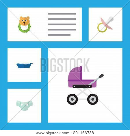 Flat Icon Kid Set Of Nipple, Rattle, Stroller And Other Vector Objects