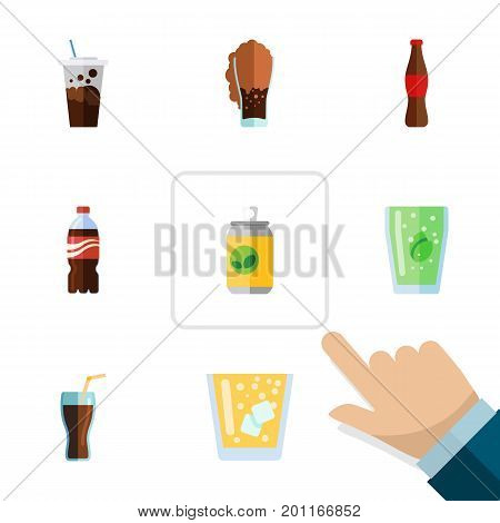 Flat Icon Drink Set Of Soda, Carbonated, Lemonade And Other Vector Objects
