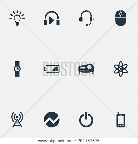 Elements Hand Clock, Presentation, Headphones Synonyms Battery, Mind And Switch.  Vector Illustration Set Of Simple Technology Icons.