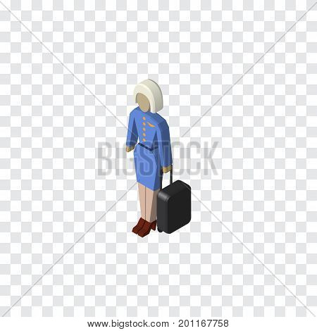 Hostess Vector Element Can Be Used For Hostess, Lady, Stewardess Design Concept.  Isolated Stewardess Isometric.