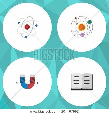 Flat Icon Knowledge Set Of Milky Way, Lecture, Attractive Force And Other Vector Objects