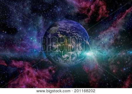 Solar System - Earth. Outer Space On The Background.