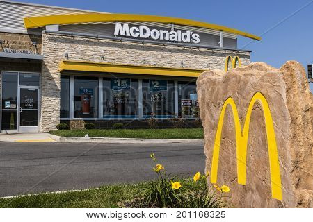 Kokomo - Circa August 2017: McDonald's Restaurant Location. McDonald's is a Chain of Hamburger Restaurants XII