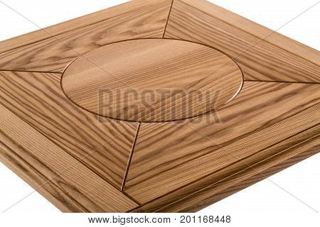 Wooden brown antique close-up table isolated on white background. dining square table. Handmade table, furniture