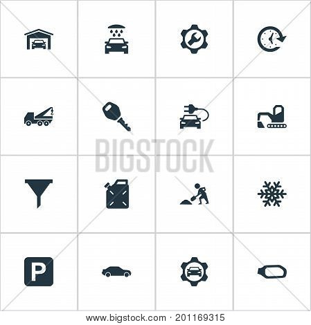 Elements Vehicle Building, Lock, Electro Car And Other Synonyms Funnel, Shovel And Motorcar.  Vector Illustration Set Of Simple Automobile Icons.