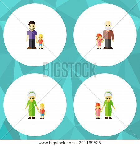 Flat Icon Family Set Of Grandma, Grandchild, Son Vector Objects