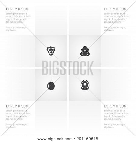 Icon Fruit Set Of Leaf, Evergreen, Bramble And Other Vector Objects
