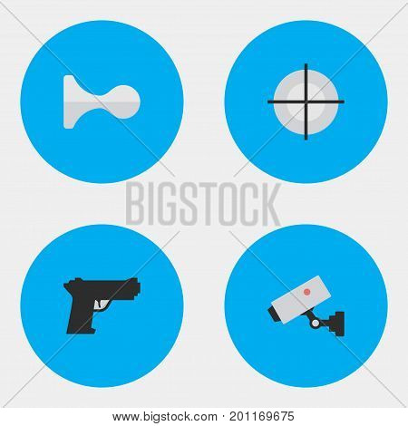 Elements Sniper, Weapon, Hunting And Other Synonyms Horns, Sniper And Security.  Vector Illustration Set Of Simple Offense Icons.