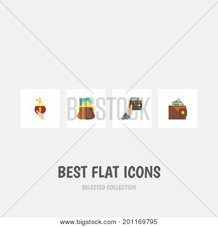 Flat Icon Purse Set Of Currency, Finance, Pouch And Other Vector Objects