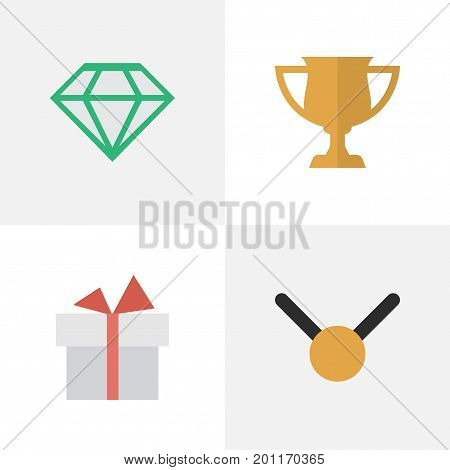 Elements Gemstone, Medal, Award And Other Synonyms Cub, Stone And Trophy.  Vector Illustration Set Of Simple Awards Icons.
