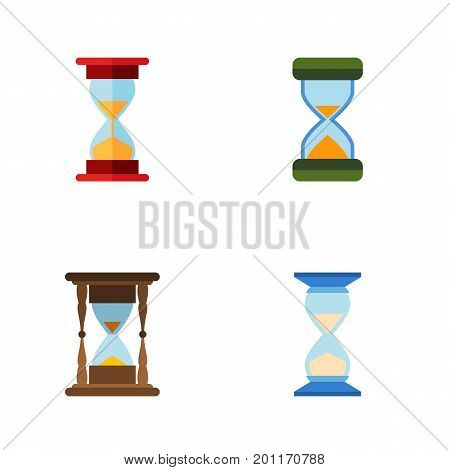 Flat Icon Sandglass Set Of Hourglass, Waiting, Loading And Other Vector Objects