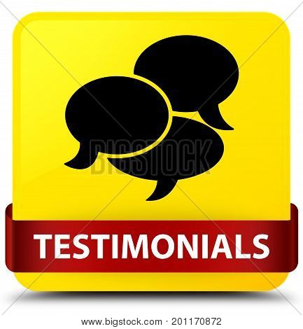 Testimonials (comments Icon) Yellow Square Button Red Ribbon In Middle
