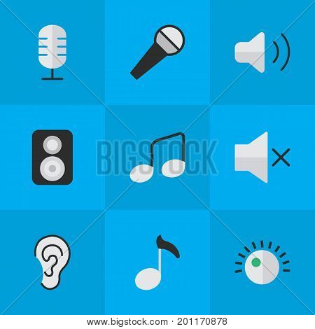 Elements Regulator, Speaker, Mike And Other Synonyms Music, Loudspeaker And Volume.  Vector Illustration Set Of Simple Melody Icons.