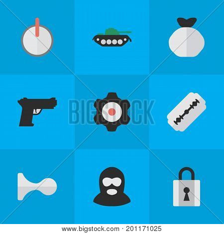 Elements Hunting, Weapon, Cogwheel And Other Synonyms Mechanical, Military And Gear.  Vector Illustration Set Of Simple Offense Icons.