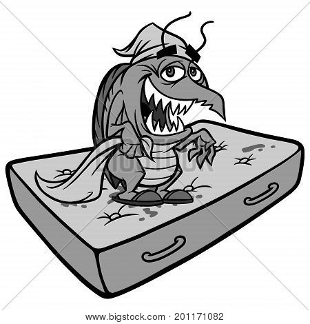 A vector illustration of a Bed Bug on a Mattress.