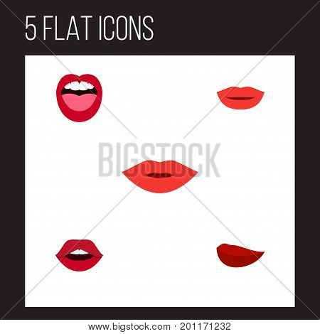 Flat Icon Mouth Set Of Kiss, Tongue, Teeth And Other Vector Objects