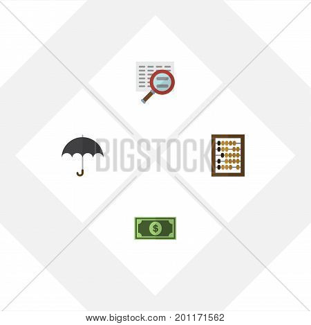 Flat Icon Finance Set Of Counter, Parasol, Greenback And Other Vector Objects