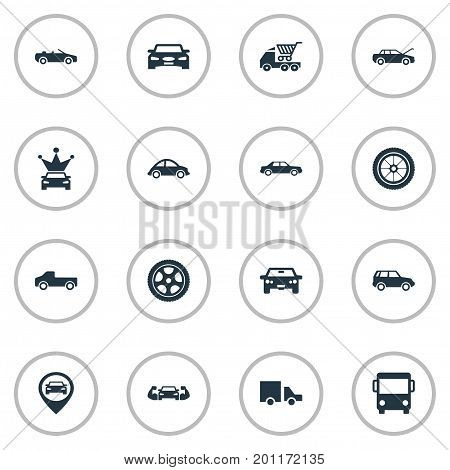Elements Offroad, Coupe, Haulage And Other Synonyms Transportation, Auto And Shopping.  Vector Illustration Set Of Simple Car Icons.