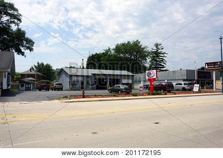 JOLIET, ILLINOIS / UNITED STATES - JULY 20, 2017: The Reliable Auto Clinic offers automobile repair and service on Plainfield Road.