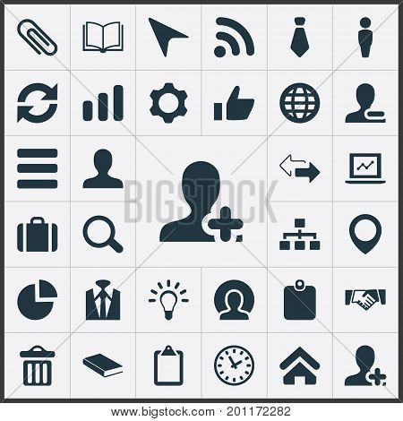 Elements Worldwide Success, Rubbish Can, Note Pad And Other Synonyms Hierarchy, Up And Growth.  Vector Illustration Set Of Simple Conference Icons.