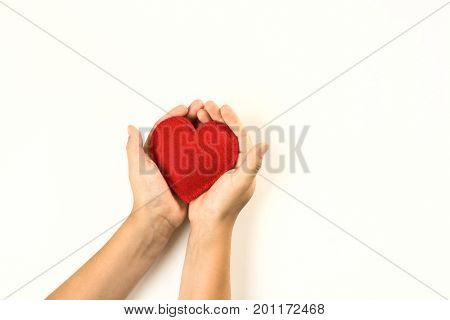 Felt red heart in childs hands on white background. View from above.