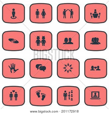Elements Unity, Charity, Mates And Other Synonyms Homosexual, Colleague And Meeting.  Vector Illustration Set Of Simple Buddies Icons.