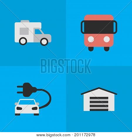 Elements Autobus, Shed, Charge And Other Synonyms Shed, Bus And Van.  Vector Illustration Set Of Simple Traffic Icons.
