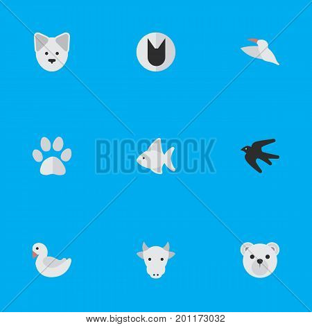 Elements Wolf , Panda , Kine Synonyms Cow, Dog And Kine.  Vector Illustration Set Of Simple Fauna Icons.