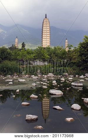 Dali three white pagodas and Cangshan Mountain. Taken in the Dali Yunnan China.