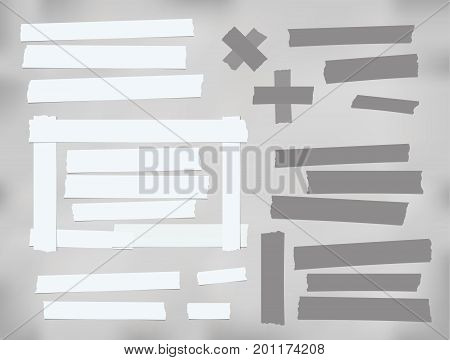 White and gray different size adhesive, sticky, scotch tape, paper pieces
